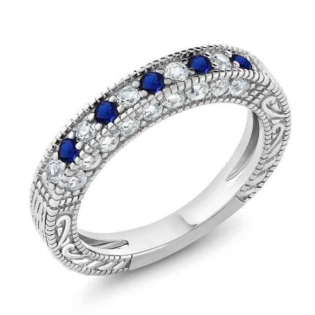 Sterling Silver 1 00 Ct Blue Sapphire Topaz Eternity
