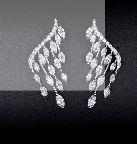 Simulated Diamond Angel Wing Stud Earrings